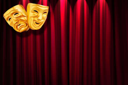 Theatre performance concept with masks Stock Photo