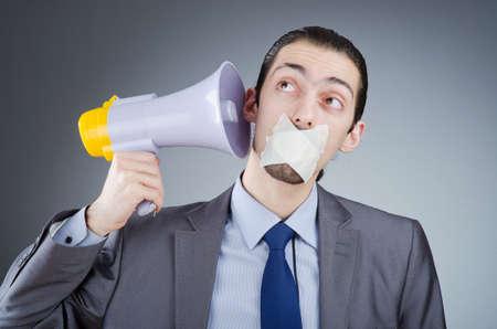 Businessman shouting via loudspeaker Stock Photo - 14385498