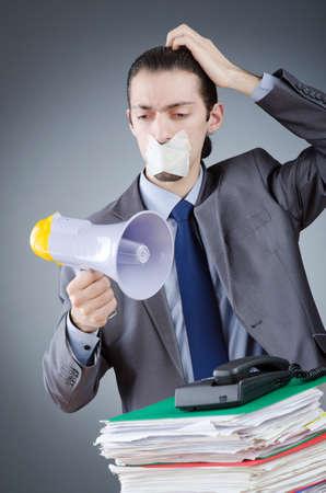 Businessman shouting via loudspeaker Stock Photo - 14385477