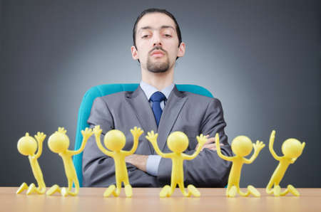 tabassum: Boss with figures of his subordinates