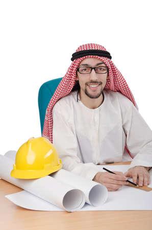 Young arab architect isolated on white Stock Photo - 14385212