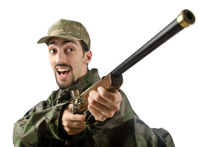 Soldier isolated on the white Stock Photo - 14385188