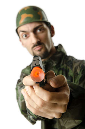 Soldier isolated on the white Stock Photo - 14385203