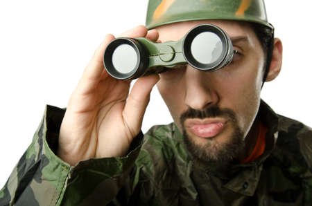 Funny soldier with binoculars photo