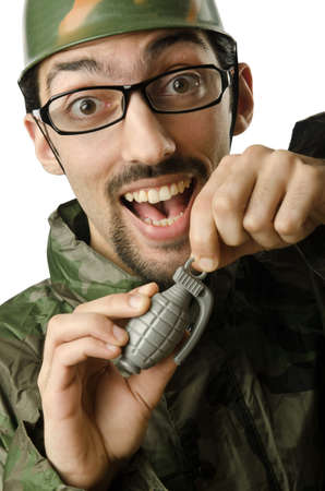 Funny soldier in humour concept Stock Photo - 14385378