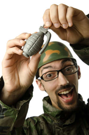 Funny soldier in humour concept Stock Photo - 14385283