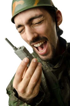 Funny soldier in humour concept Stock Photo - 14385301