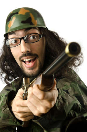 Funny soldier in humour concept Stock Photo - 14385383