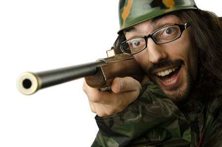 Funny soldier in humour concept Stock Photo - 14385239