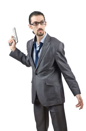 Businessman with gun isolated on white photo