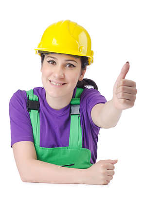 Woman worker with hardhat on white photo