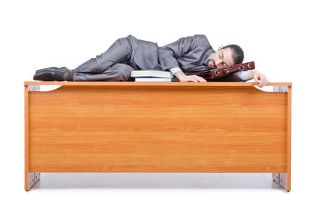 Businessman sleeping at this desk Stock Photo - 14385247