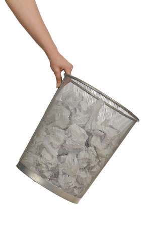 Hands with garbage bin with paper photo
