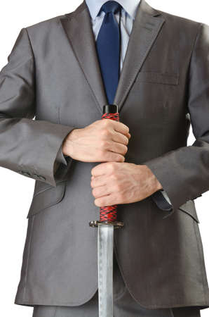 Businessman with sword on white Stock Photo - 14374509