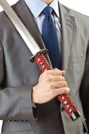 Businessman with sword on white Stock Photo - 14374508
