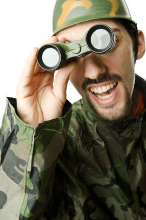 Funny soldier with binoculars Stock Photo - 14409204