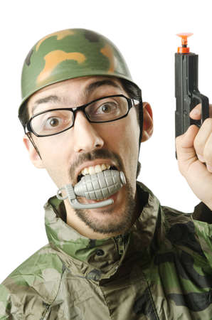 Funny soldier in humour concept photo