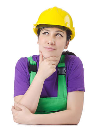 Woman worker with hardhat on white Stock Photo - 14409181