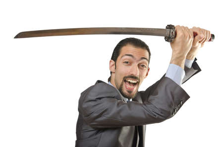 Businessman with sword on white Stock Photo - 14425466