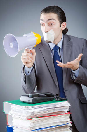 whistleblower: Businessman shouting via loudspeaker