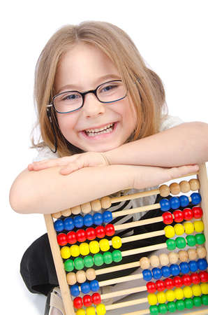 Girl with abacus on white Stock Photo - 14425633
