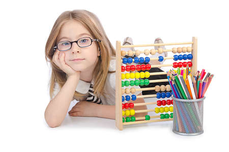 Girl with abacus on white Stock Photo - 14425538