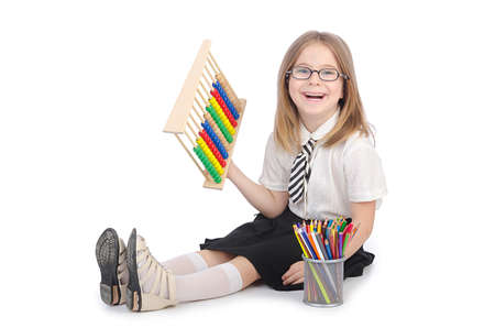 Girl with abacus on white Stock Photo - 14425464