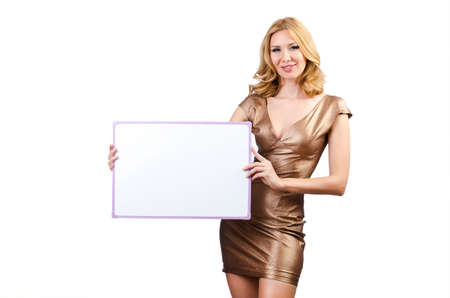 Woman with blank message board  Stock Photo - 14703601