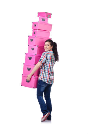 Girl with stack of giftboxes on white Stock Photo - 14703553
