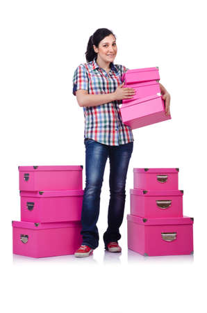 Girl with stack of giftboxes on white Stock Photo - 14703608