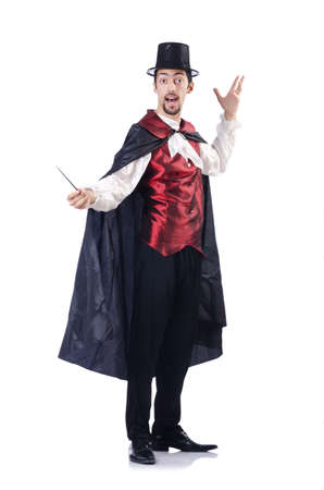 Magician isolated on the white background Stock Photo
