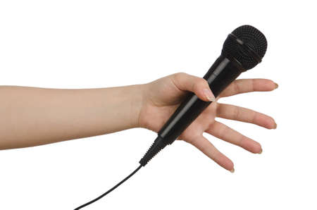Hand with microphone on white Stock Photo - 14651648
