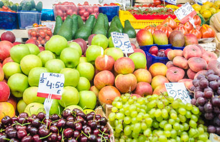 Fruits and vegetables at the market stall photo