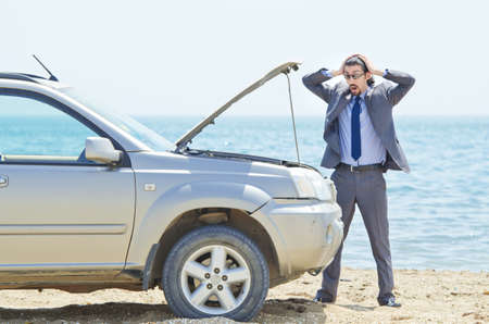 Man with car on seaside Stock Photo - 14703744