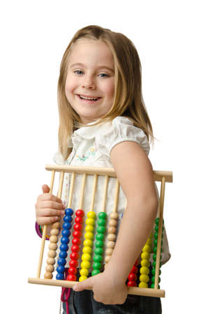 Girl with abacus on white Stock Photo - 14703648