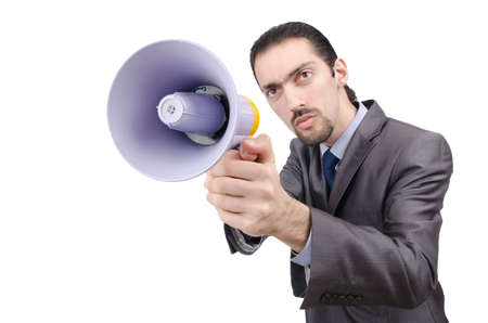 Man shouting and yelling with loudspeaker Stock Photo - 14703679