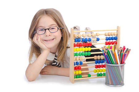 Girl with abacus on white Stock Photo - 14703708