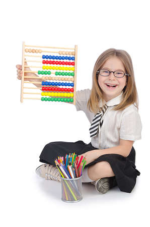 Girl with abacus on white Stock Photo - 14703672