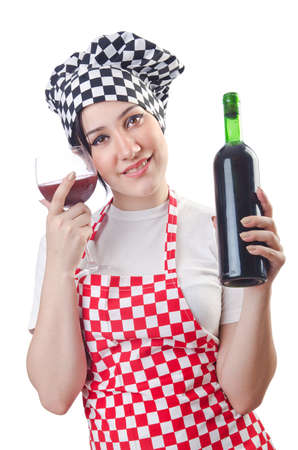winetasting: Woman cook isolated on the white Stock Photo