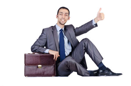 Man with briefcase on white photo