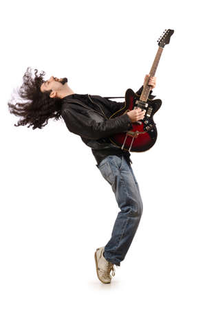 Young man playing guitar on white photo