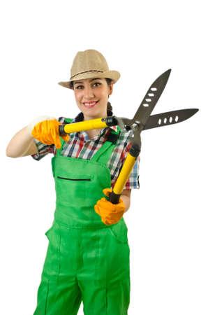 Girl with garden scissors on white Stock Photo - 14703604