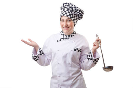 Woman cook with ladle on white Stock Photo - 14703558