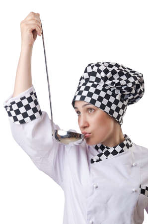 Woman cook with ladle on white Stock Photo - 14703669