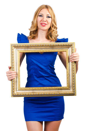 Woman in fashion clothing with photo frame photo