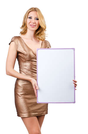 Woman with blank message board  Stock Photo - 14684831