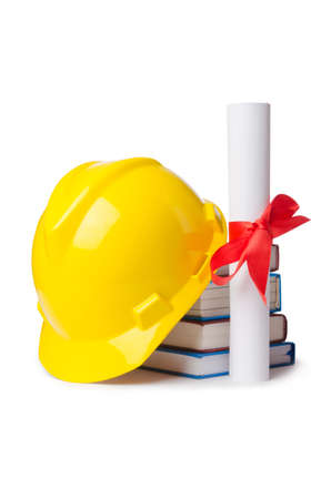Construction industry education concept on white photo