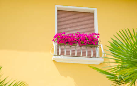 Nice balcony with fresh flowers photo