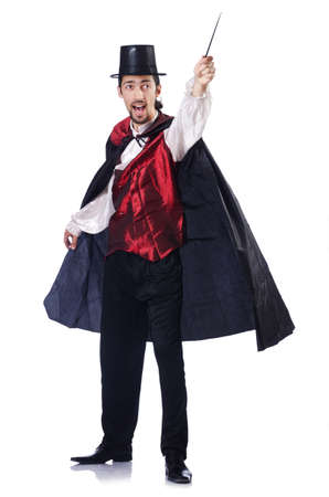 wizardry: Magician isolated on the white background Stock Photo