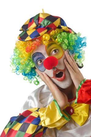 Funny clown on the white Stock Photo - 14908142